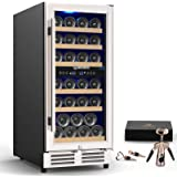MOOSOO 15 Inch Dual Zone Wine Cooler Refrigerator Built-in or Freestanding with Fashion Look, Independent Temperature…