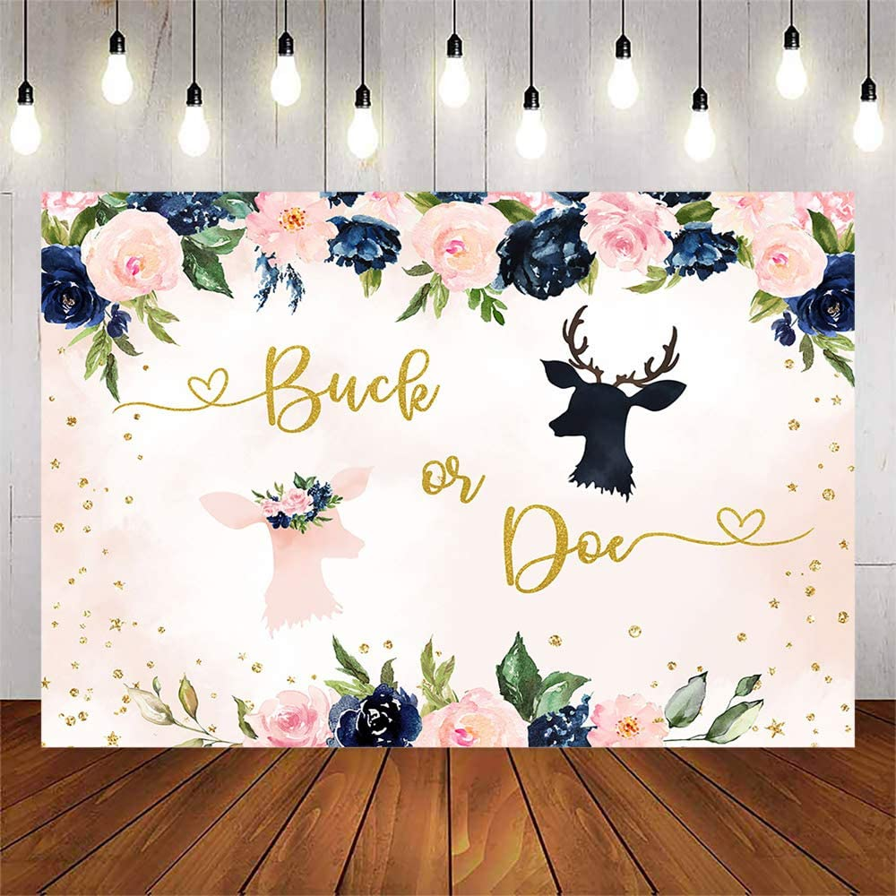 Avezano Buck or Doe Gender Reveal Backdrop,Navy and Blush Pregnancy Reveal Theme Party Decorations Boy or Girl Gender Reveal Floral Background Cake Table Banner (7x5ft)
