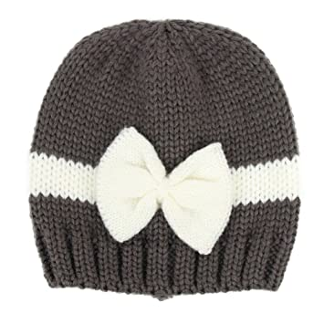 Amazon.com   potato001 Newborn Baby Girl Infant Hat Color Block Bowknot  Winter Warm Knitted Beanie Cap (Dark Grey)   Baby 505441b4dc5
