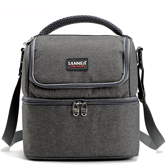 Adult Lunch Bag, Insulated Picnic Bag Lunch Box for Men, Women, 7L Double Deck Cooler Tote Bag for Work, School