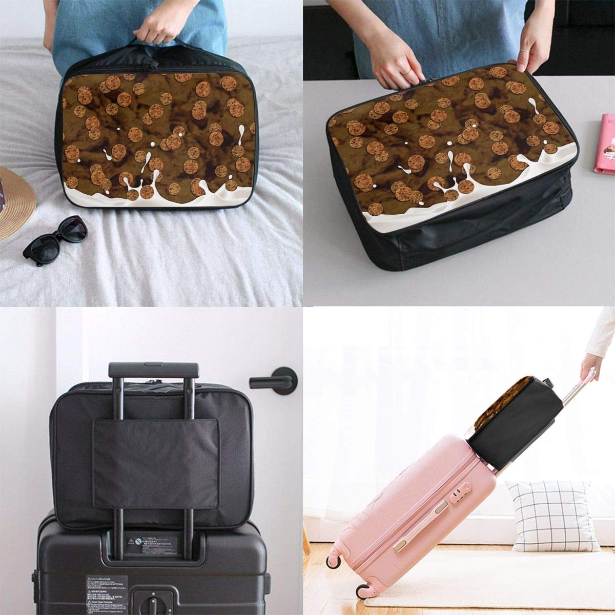 Travel Luggage Duffle Bag Lightweight Portable Handbag Biscuits Large Capacity Waterproof Foldable Storage Tote