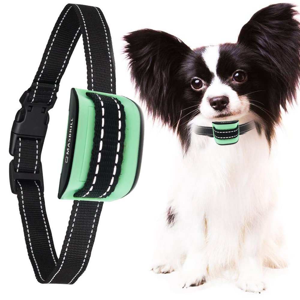 MASBRILL Small Dog Bark Collar, Harmless Stop Barking Device, Control Bark by Beep Sound and Vibration, No Shock. Best Anti-Bark Training Collar. (Green(5-55lbs)) by MASBRILL