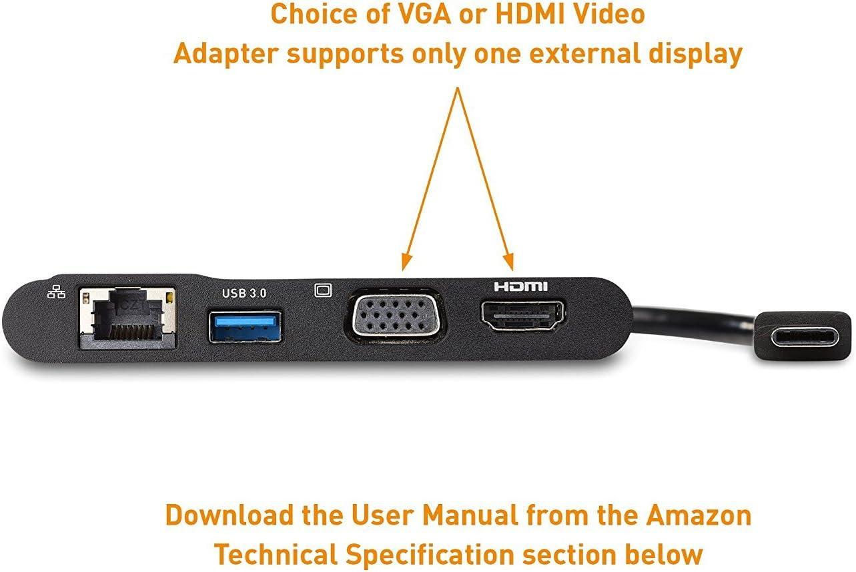 Cable Matters Adaptador USB C a HDMI VGA(Hub USB C a HDMI VGA o ...