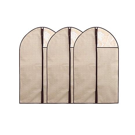 Hongrui - Funda de traje, funda para ropa, guardarropa, textil no tejido, con cremallera, 3Packs, (Beige, 60*100cm)