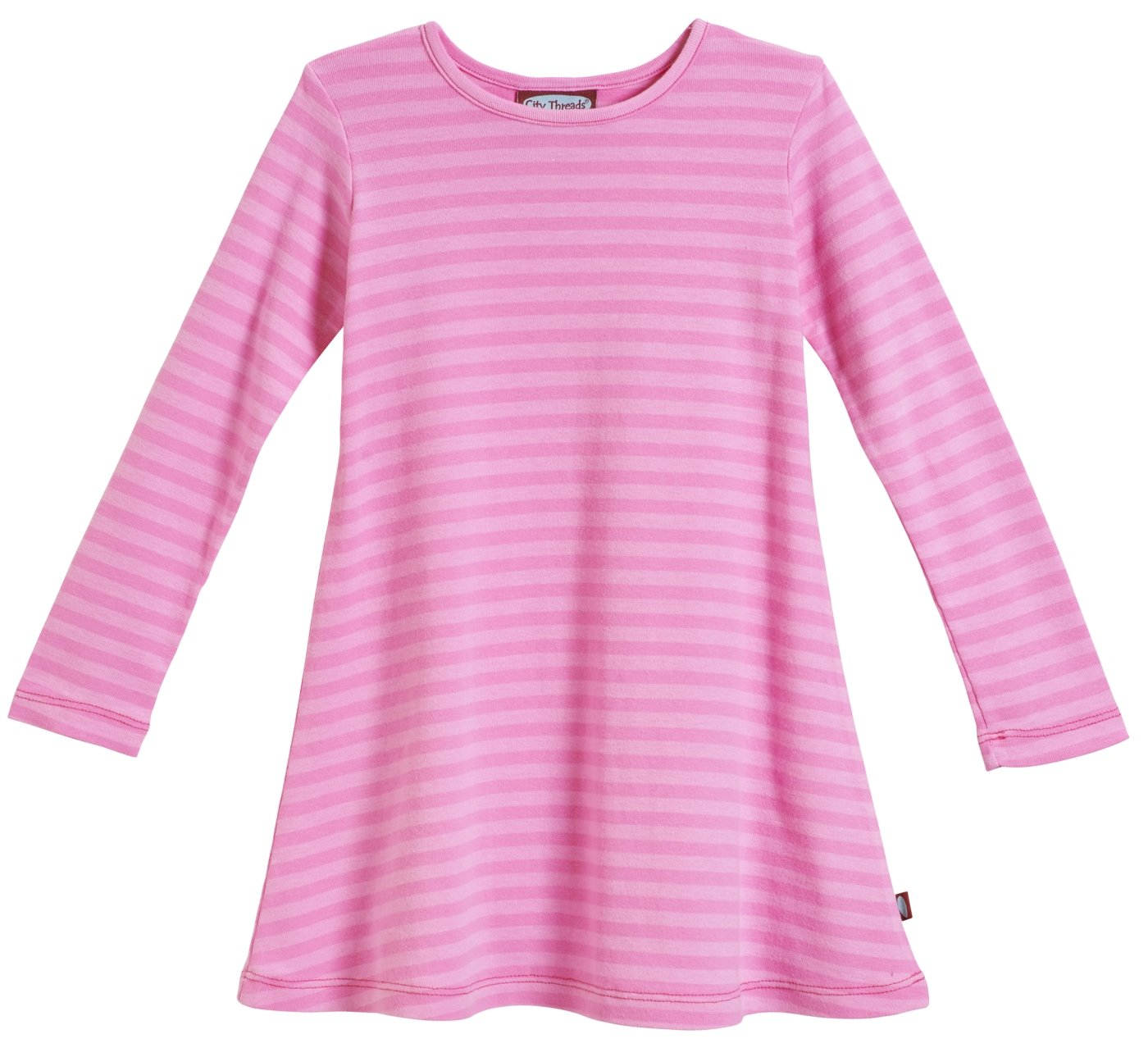 City Threads Girls' Super Soft Cotton Long Sleeve Dress Made in USA CT-LSDRESS-P