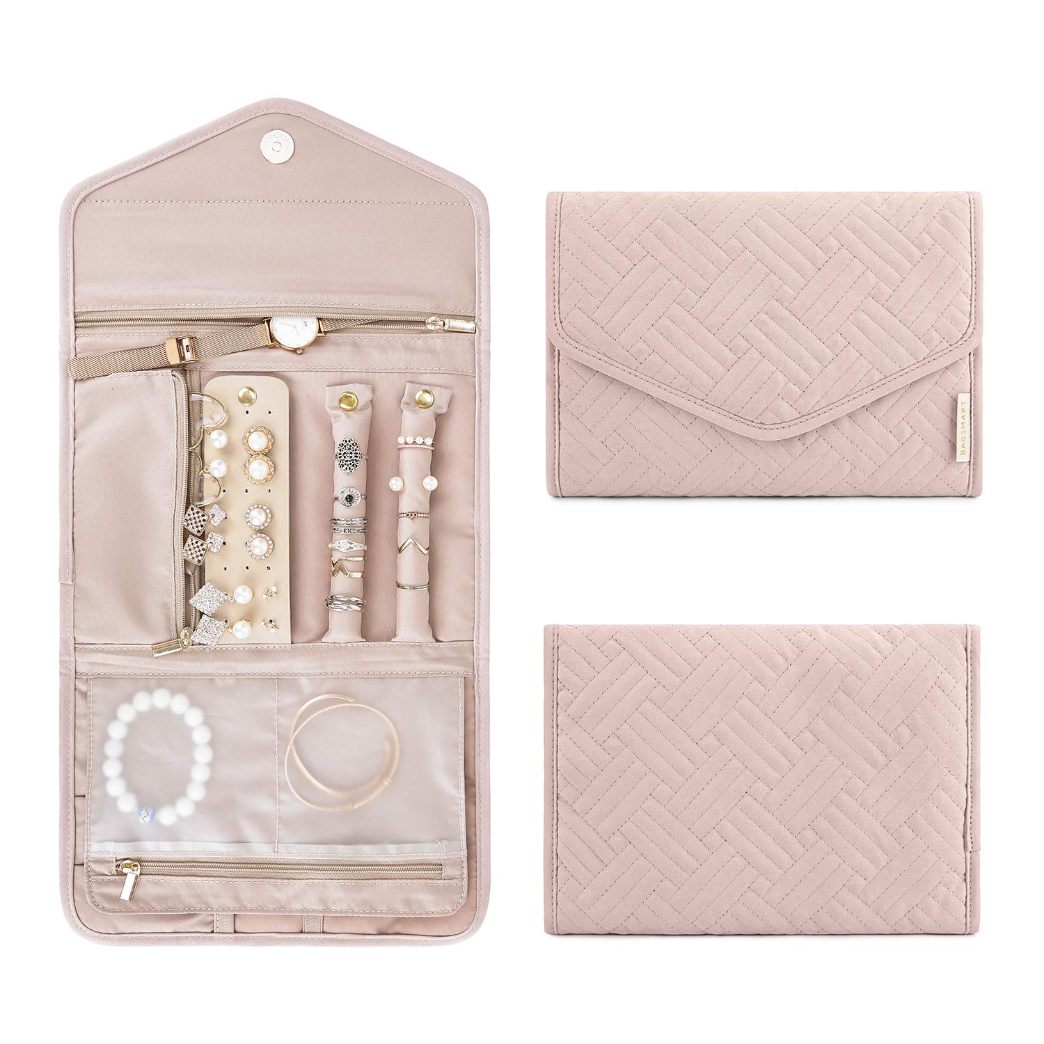 BAGSMART Travel Jewelry Organizer Roll Foldable Jewelry Case for Journey-Rings, Necklaces, Bracelets, Earrings, Soft Pink by BAGSMART
