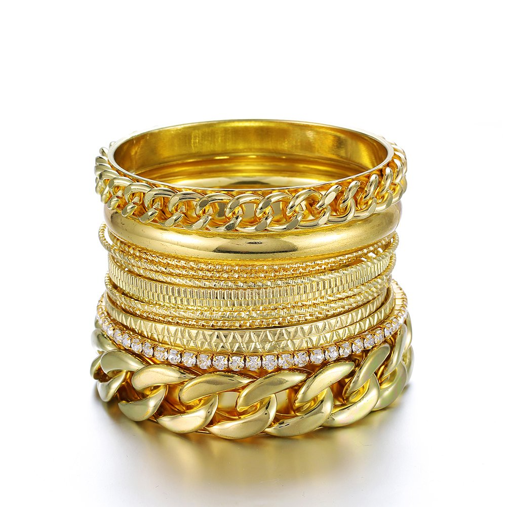Ensoul Fashion Gold Color Multiple Textured Metal Bracelets /& Bangles Set 14Pcs//Set W//Rhinestones