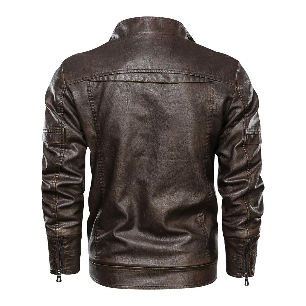 Vintage Faux Leather Jackets Punk Coats Tops for Men Zipper Pockets Outwear Long Sleeve Stand Collar Windproof Coats