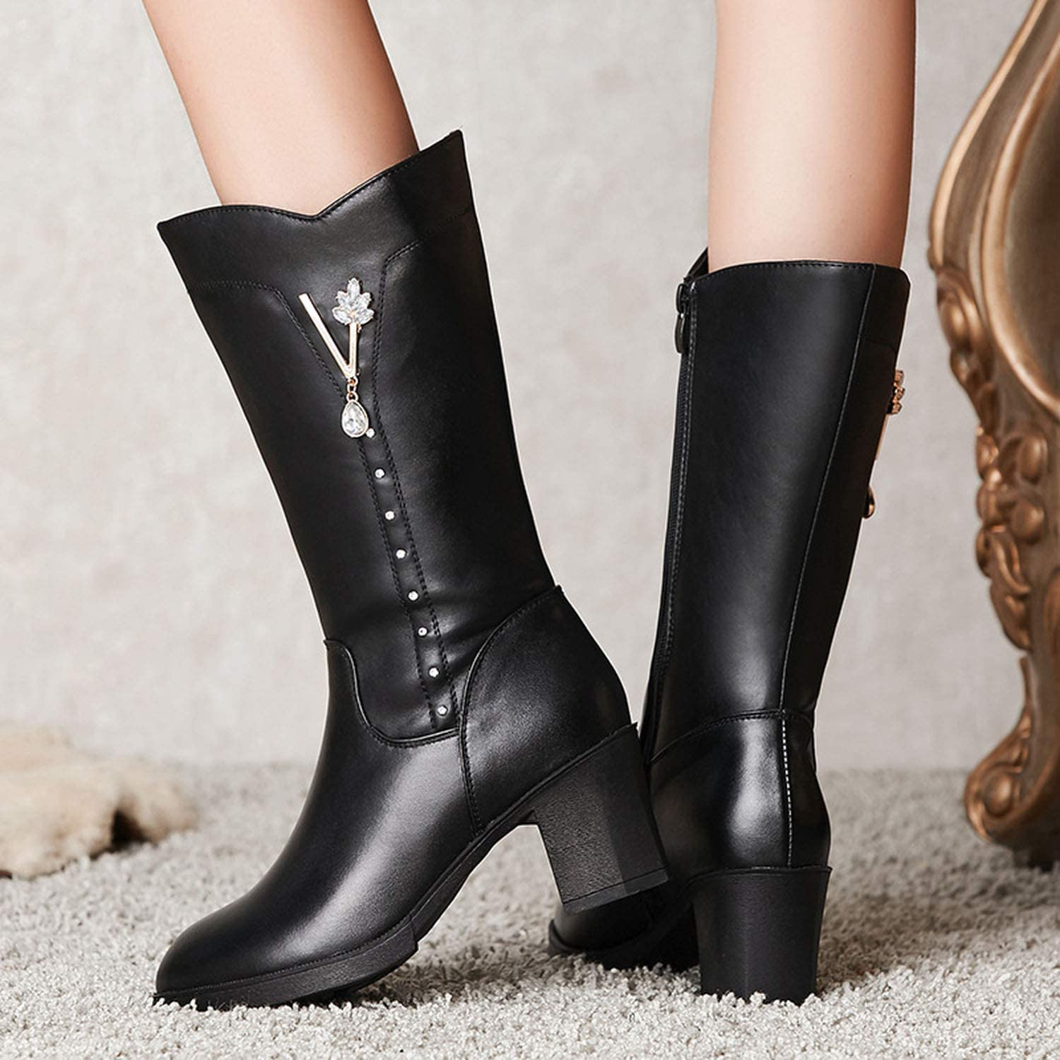 Together to create a miracle 2018 Rhinestone Winter Boots Women Shoes Elegant Black Cow Leather Boots,Black Short Plush,5