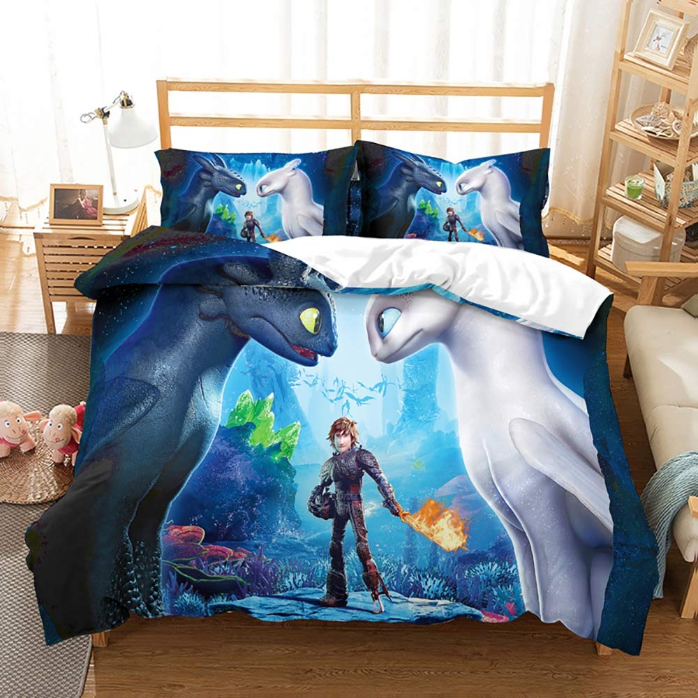 JSBVM 3D Printing How to Train Your Dragon 3 Piece Bedding Set for Teens Children Adult Microfiber Duvet Cover Set with Zipper Closure,E,Qeen