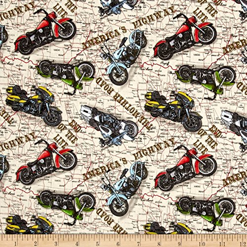 Blank Quilting Fabric (Jean Poult American Dream Motorcycles Ivory Fabric By The Yard)