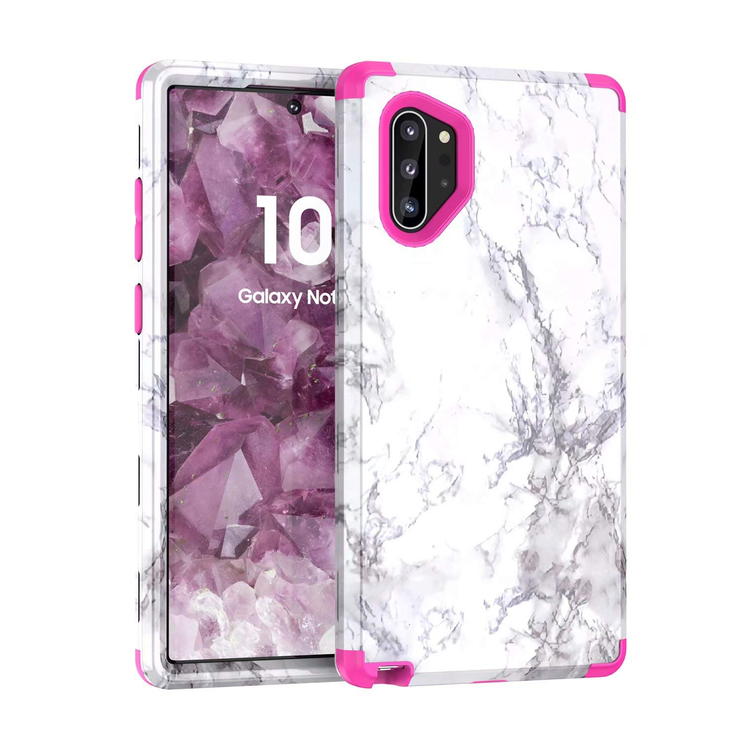Galaxy Note 10+ Plus Case, Ranyi Marble Pattern 360 Full Body Protection 3 in 1 Hybrid Bumper Shock Absorbing High Impact Heavy Duty Defender Case for Samsung Galaxy Note 10+ Plus/Pro/5G (hot Pink) by Ranyi