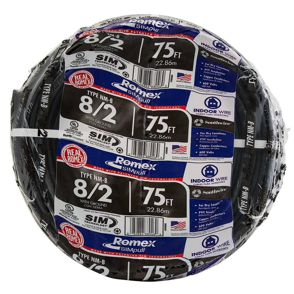 75 ft. 8/2 NM-B Wire - Black