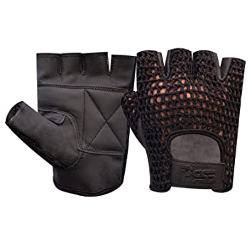 Leather Padded Net Cycling Gym Sports Wheelchair fingerless gloves Fitness Bus
