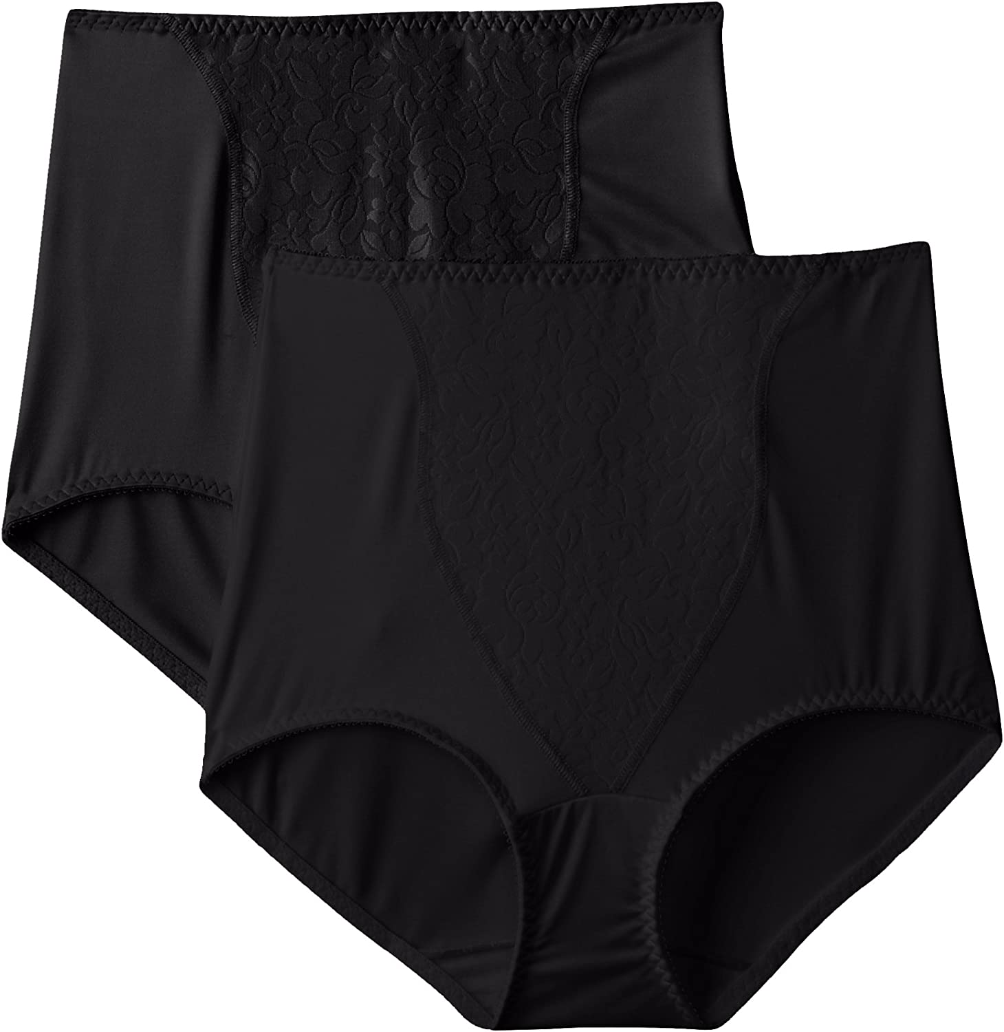 Bali Ultra Light Firm Control Tummy Solutions Sheer Lace Brief Panties 2X//9 Blac