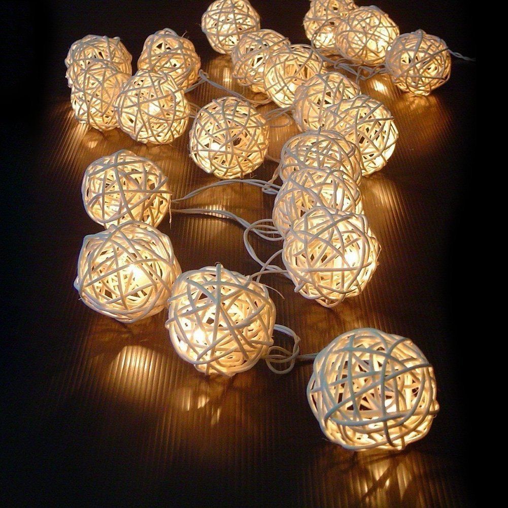 20 Rattan Ball Lichterkette String Lights Batteriebetrieben für ...