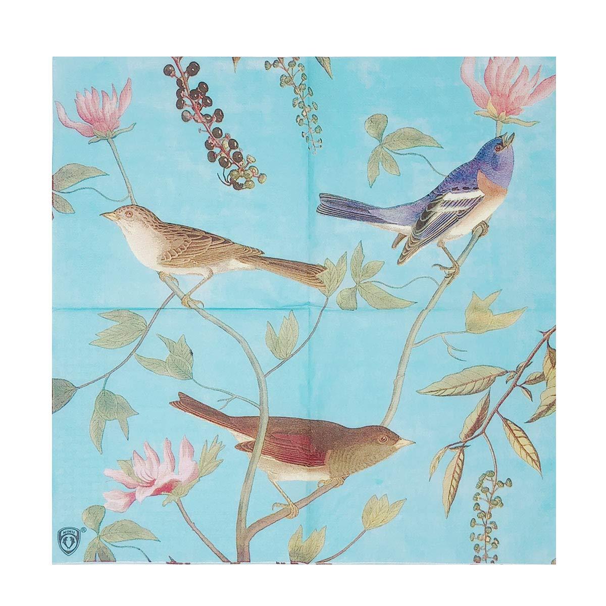 Wrapables フローラル 2層ペーパーナプキン (40枚) 結婚式 ディナーパーティー ティーパーティー 装飾的装飾 One Size B07HC765VL (40 Count), Birds Blue