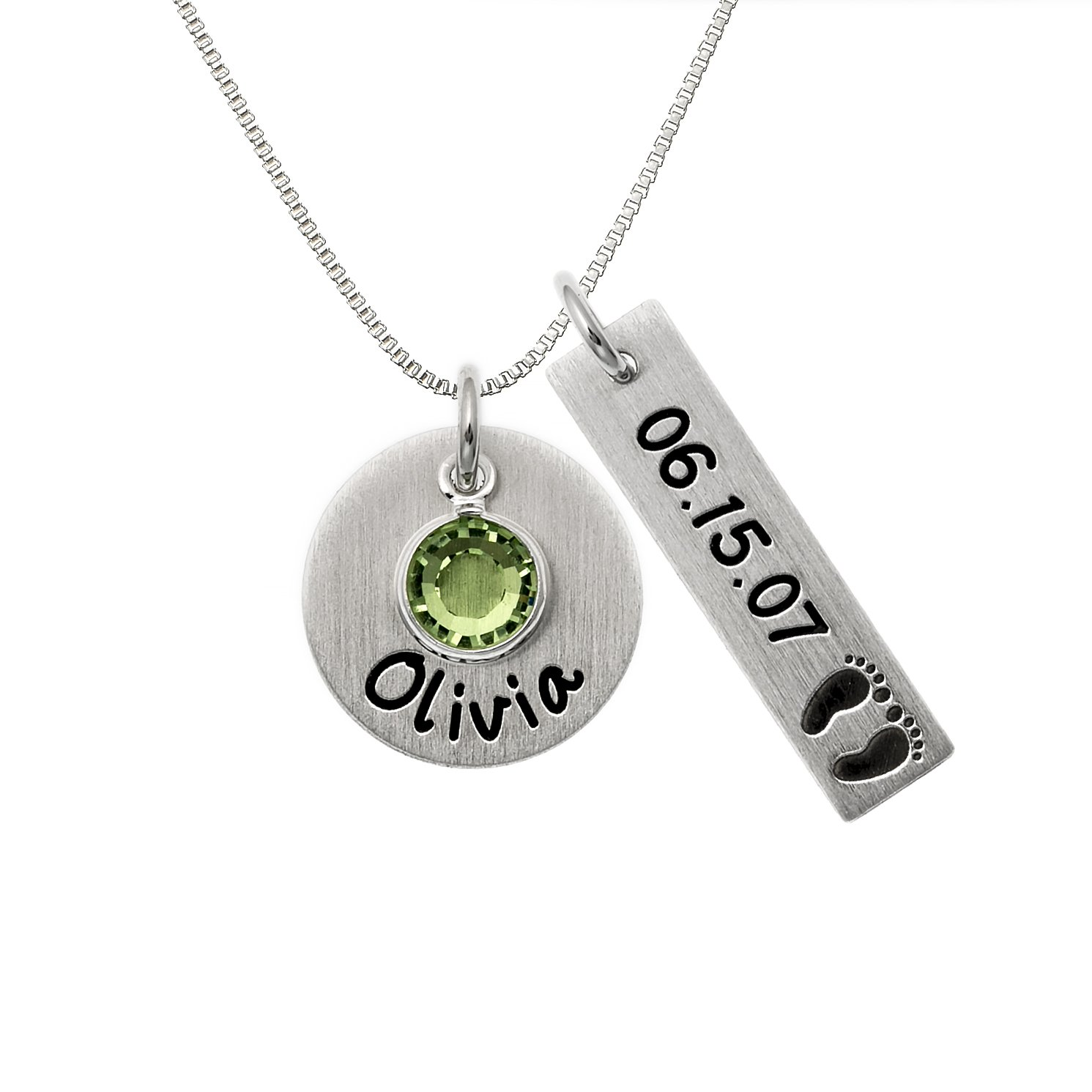 Personalized Let's Celebrate Necklace. Customize a Sterling Silver Disc and, Rectangle Disc and Birthstone. Choice of Sterling SIlver Chain. Swarovski Birthstone, Baby Feet. Gift for Mothers.