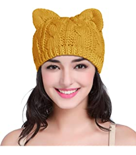 abbc0b1087853 v28 Women Men Girls Boys Teens Cute Cat Ear Knit Cable Rib Hat Cap Beanie