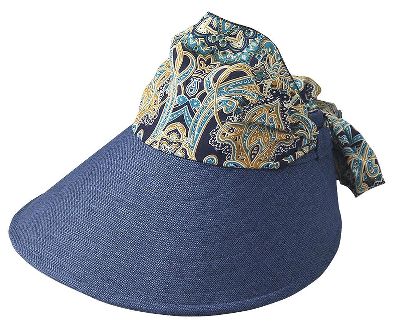 FEOYA Sombrero de Copa Vacío para Mujeres Gorro de Sol Verano con Lazo  Estampados Plegable Visera 4af03f3ebca