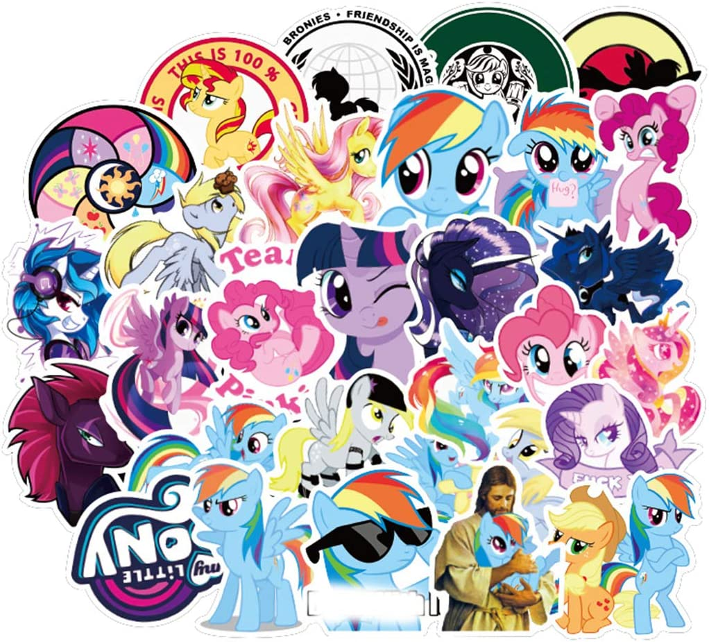SEBADA 50Pcs My Little Pony Stickers for Laptop Motorcycle Bicycle Skateboard Luggage Decal Graffiti Patches[No-Duplicate Sticker Pack] HJKT