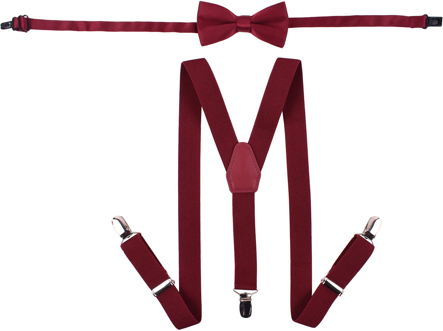 WDSKY Baby Boys' Bow Tie and Suspenders Set Fashion Y Back Wine Red