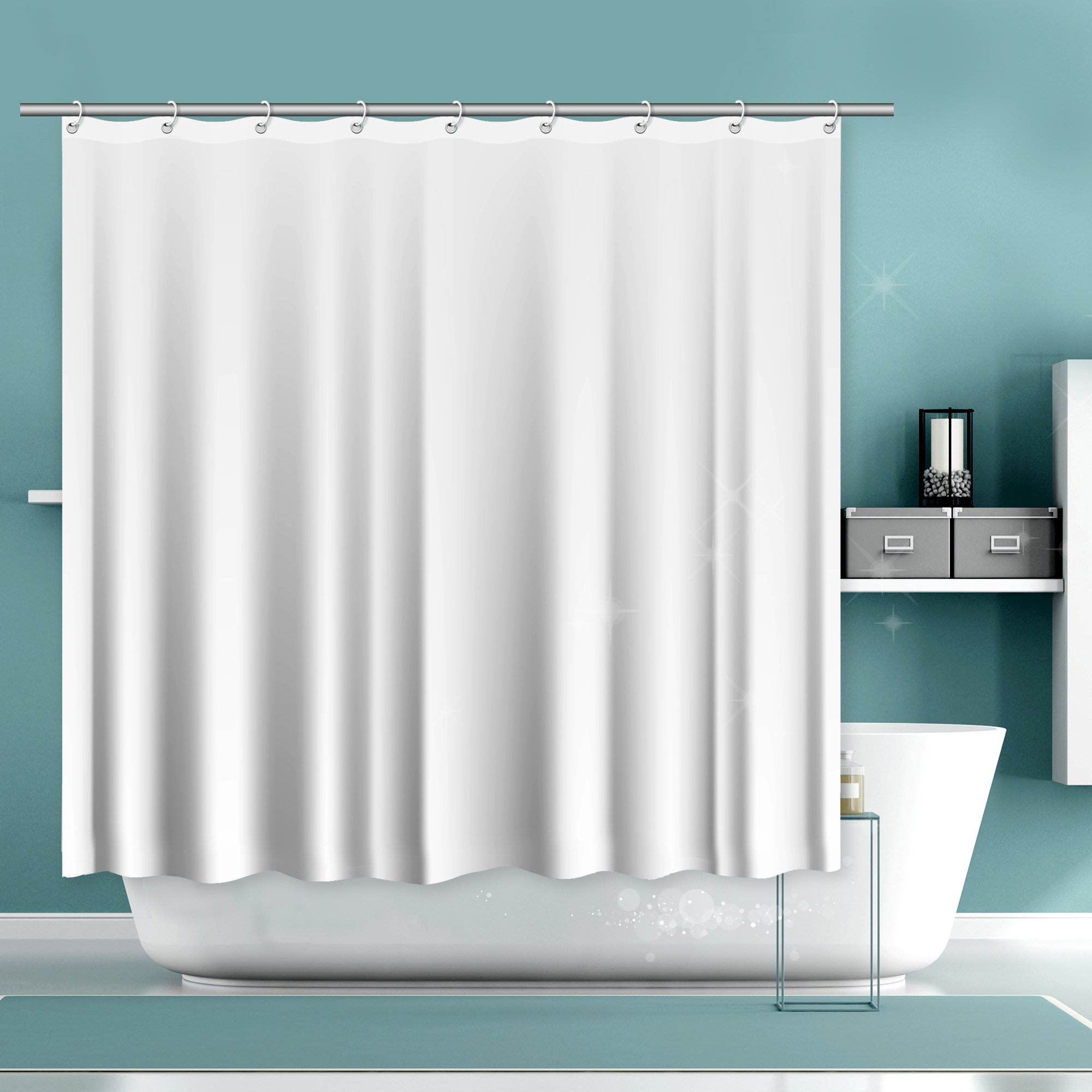 "White Shower Curtain Liner Set – With 2 Free Bar Soaps, Mold and Mildew Resistant, Water Repellent,Antibacterial & Eco Friendly, Hotel Grade, Bathroom Curtain Liner –Standard Size 71"" x 71"""