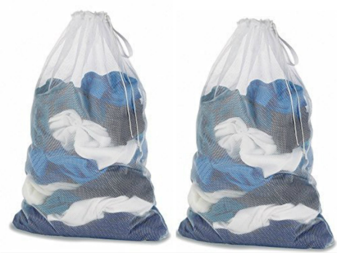 Mesh Laundry Bag White 25-inch L x 36-Inch 2 pack Laundry Bag 2