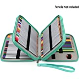 BTSKY PU Leather 120 Inserting Super Large Capacity Multi-layer Students Pencil Wrap Case Colored Pencil Bag Pencil Pouch Pencil Holder Stationery Make up Cosmetic Case Bag(no pencils) (Lake blue)