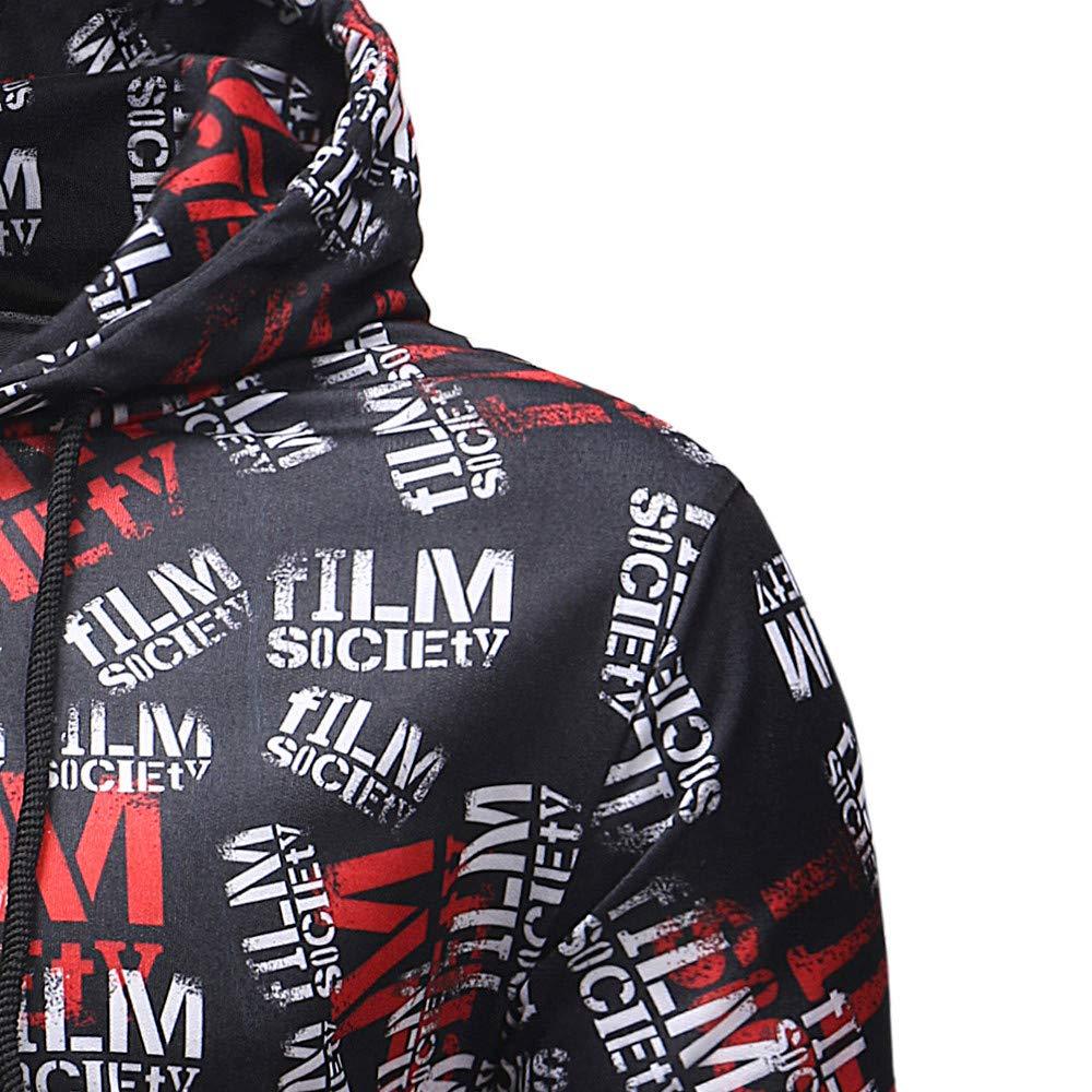 Colmkley Mens Letter Printed Hooded Sweatshirt Casual Drawstring Pullover Hoodie