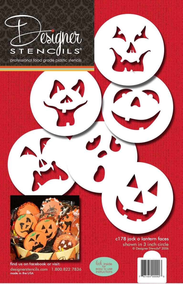 Designer Stencils C178 Pumpkin Halloween Faces Cake Stencils, Beige/semi-transparent by Designer Stencils