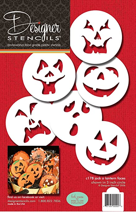 Plantillas de diseño C178 calabaza Caras Halloween Cake Stencils ...