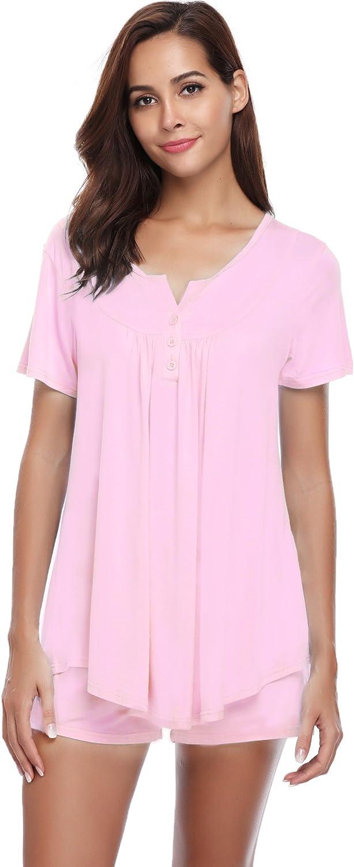 Pantaloni Corti Casual Mare Spiaggia Rosa L Hawiton Donna Tuta Estiva Set Pigiama da Notte in Cotone Due Pezzi T-Shirt Tops