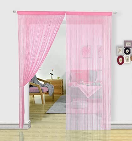 String Curtains For Living Room Kitchen Decor Sheer Curtains Pink Curtains  Room Divide Spaghetti Door Fly