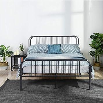 aingoo lit double 140x190 cm cadre de lit en metal avec ttete de tit et lattes