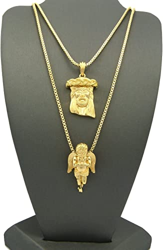 """Hip Hop Iced Out Micro Angel Cherub,Jesus Pendant 24/"""",30/"""" Box Chain 2 Necklace"""