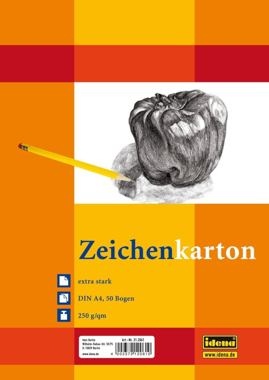 Idena 212061 Zeichenkarton extra stark, DIN A4, 250 g/m², 50 Bogen 250 g/m² Iden Nürnberg GmbH