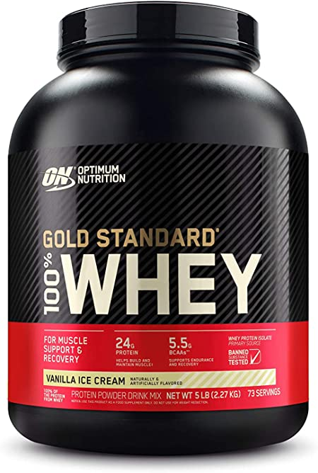 Optimum Nutrition Gold Standard 100% Whey Protein Powder, Vanilla Ice Cream, 5 Pound (Packaging May Vary)