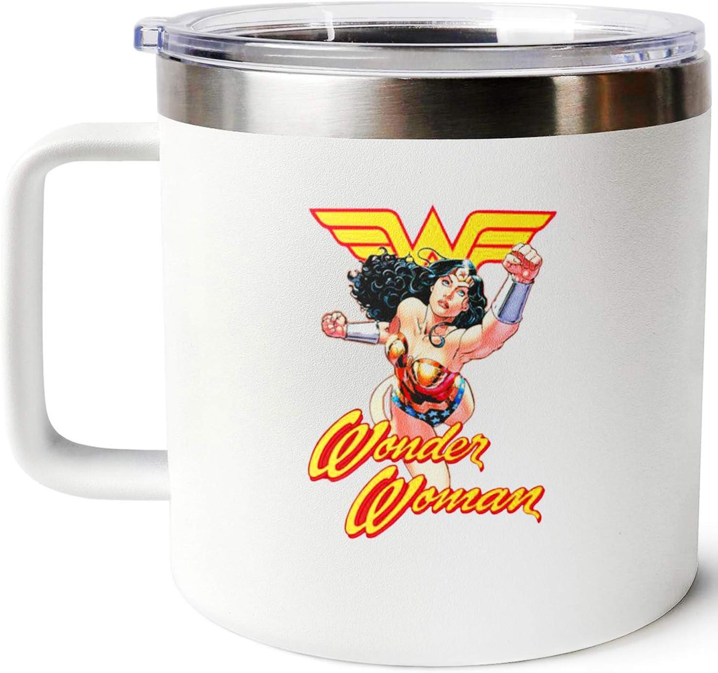 wonder women 1984 insulated coffee mug comics coffee mugs for women superhero travelstainless steel coffee 14Oz big cup cute with handle and lid travel mug wonder woman mom birthday gifts