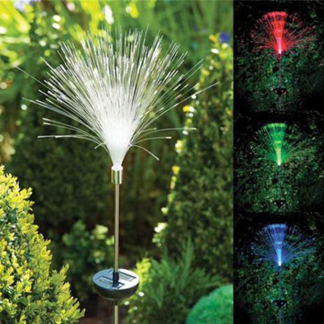 LED Lights, Hunzed 2pc Solar Power LED Light Color Change Fibre Optic Light Bulbs Home LED Lights Garden Outdoor Yard Path LED Light Lamp