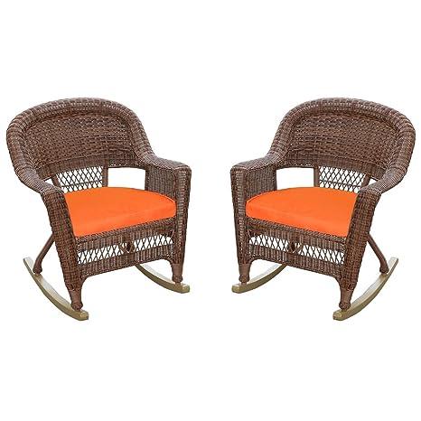 Amazon.com: Rocker silla de mimbre con cojín de color ...