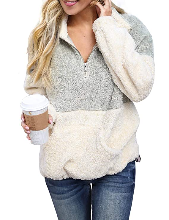 MEROKEETY Women's Long Sleeve Contrast Color Zipper Sherpa Pile Pullover Tops Fleece with Pocket Light Grey best women's sweatshirt
