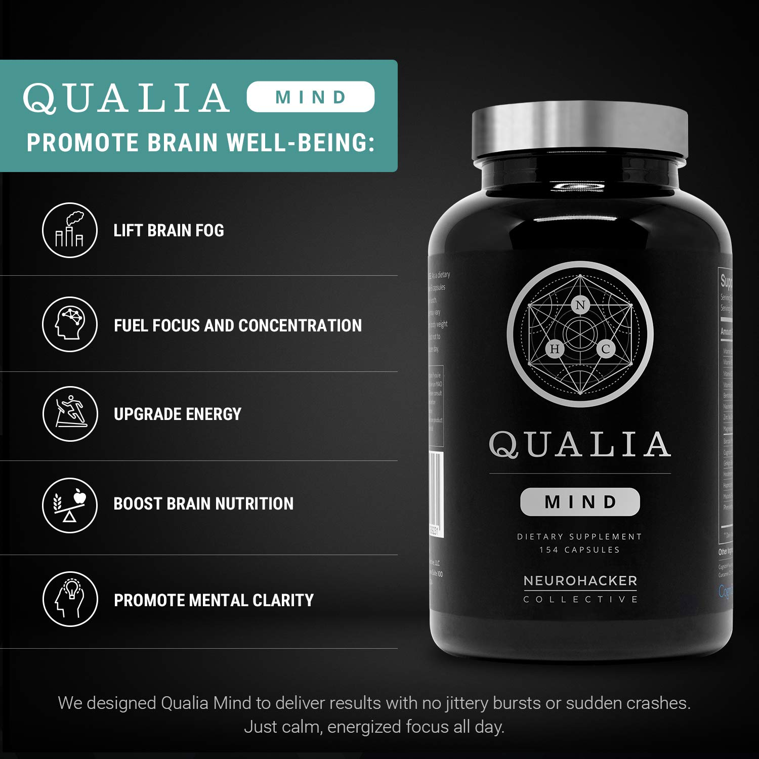 Qualia Mind Nootropics | Top Brain Supplement for Memory, Focus, Mental Energy, and Concentration with Ginkgo biloba, Alpha GPC, Bacopa monnieri, Celastrus paniculatus, DHA & More.(154 Ct) by NEUROHACKER COLLECTIVE (Image #2)