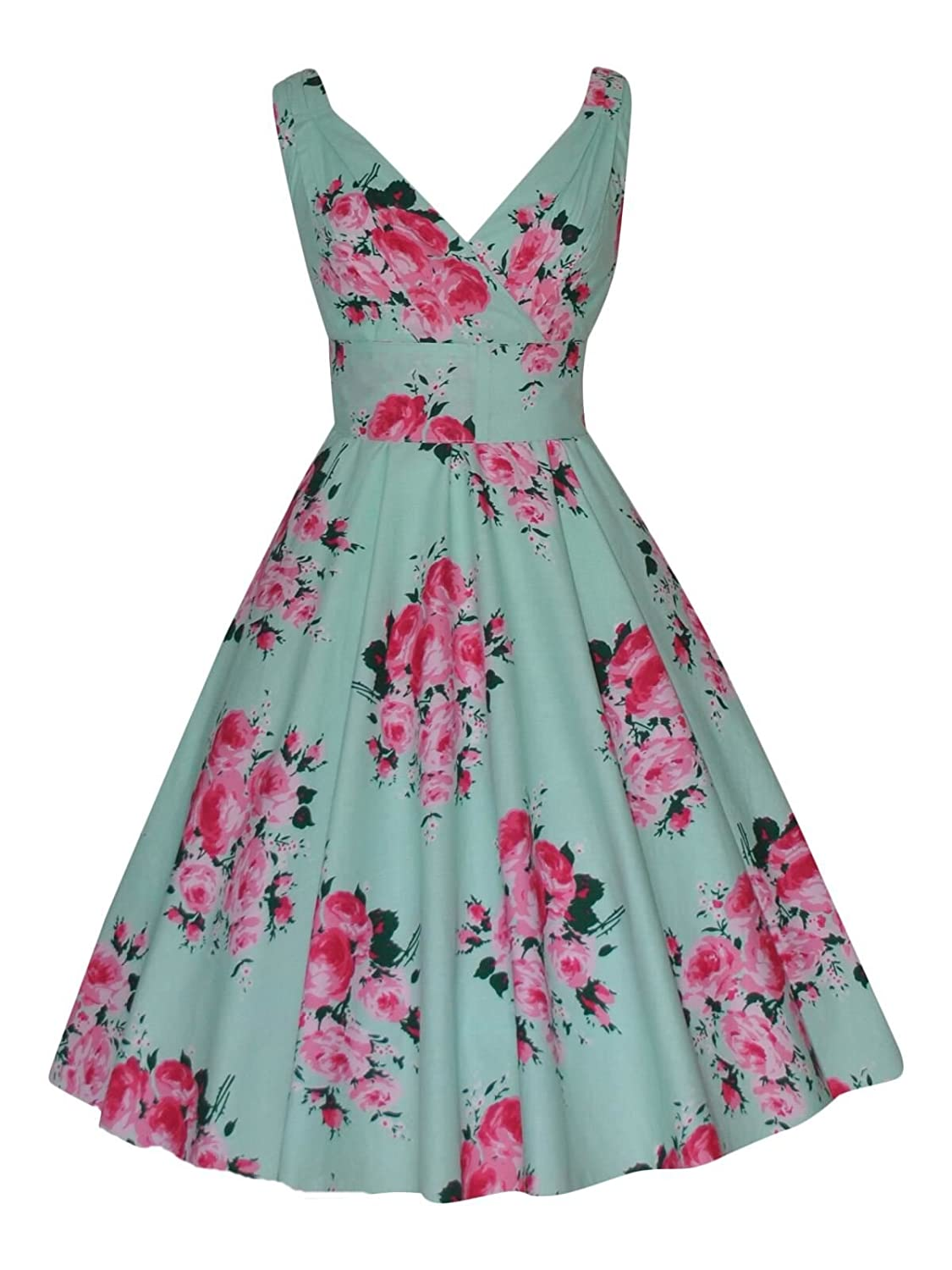 Ladies 40's 50's Vintage Mint Pink Rose Bouquet Full Flared Cotton Prom Bridesmaid Tea Dress