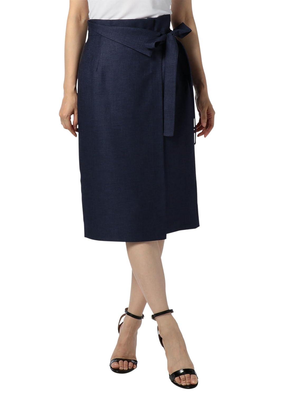 (ノーリーズ ソフィー) NOLLEY'S sophi 麻調ツイルリボンラップスカート 8-0030-2-06-004 B07CJSH554 38|ネイビー ネイビー 38