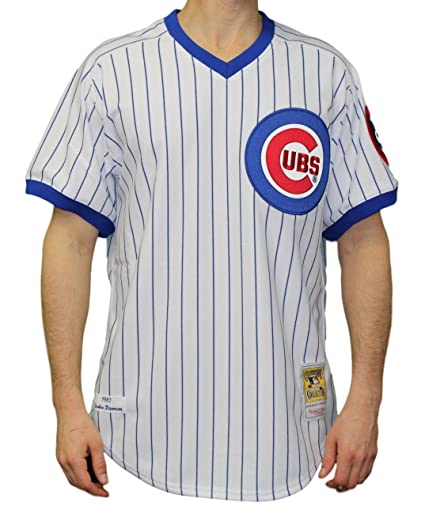 f4eb173e2 Amazon.com : Mitchell & Ness Andre Dawson Chicago Cubs MLB Authentic 1987  Pinstripe Jersey : Sports & Outdoors