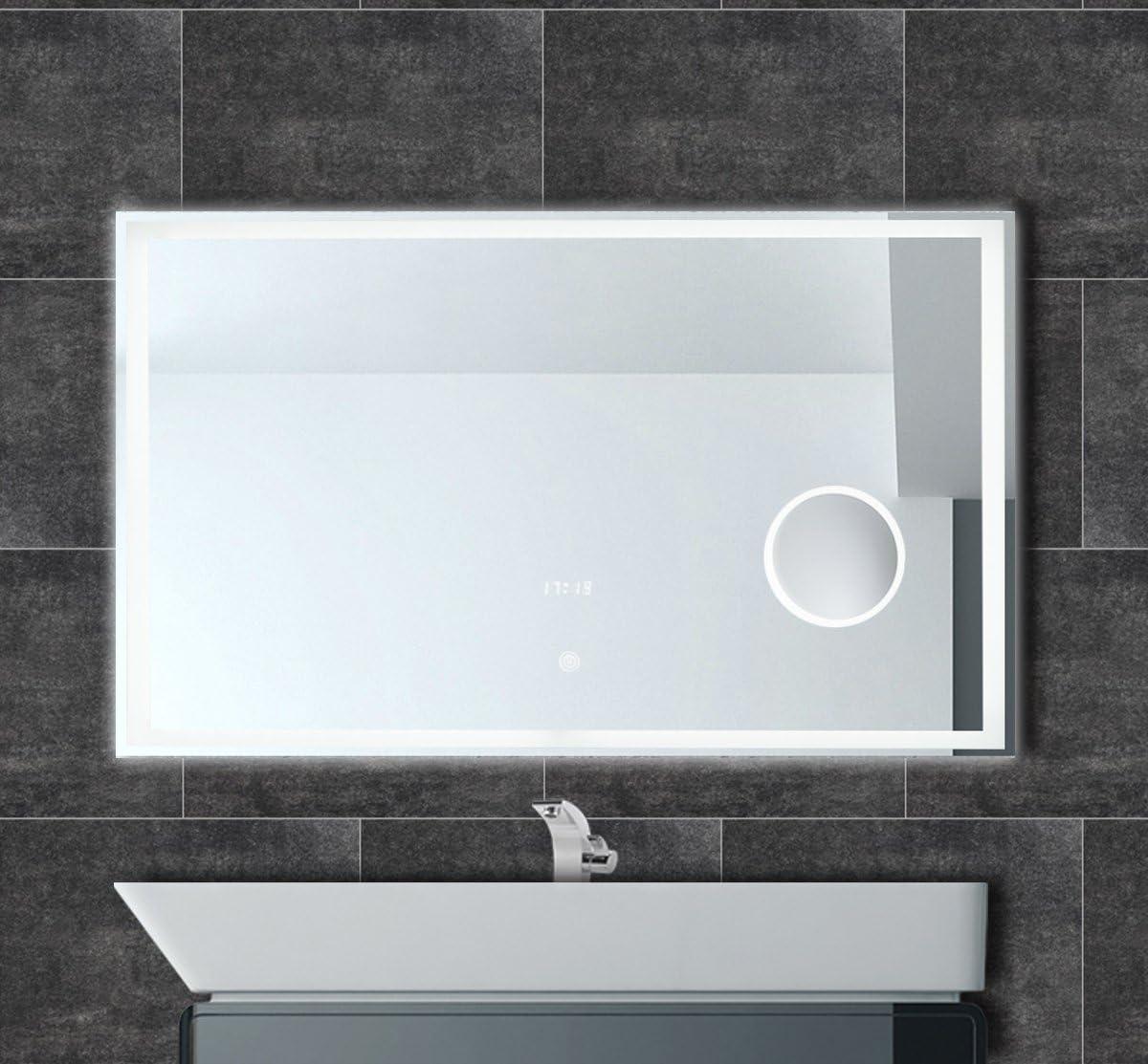 LED Bad Spiegel Lichtspiegel Kosmetikspiegel Touchschalter mit Rasiersteckdose