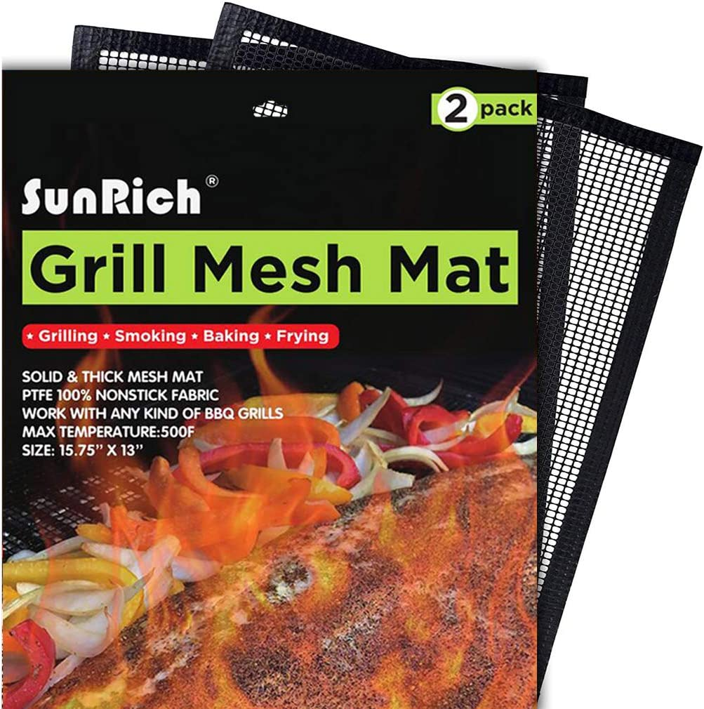 2x BBQ Grill Mesh Non-Stick Mat Reusable Sheet Resistant Barbecue Cooking