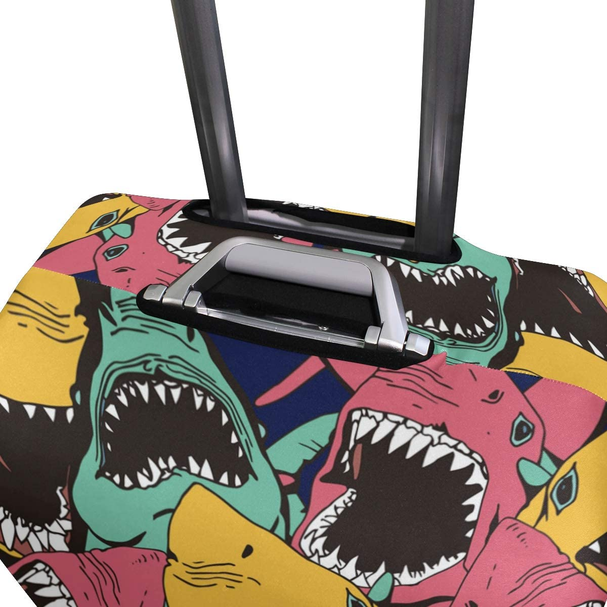 Baggage Covers Terrible Shark Green Pink Yellow Pattern Washable Protective Case