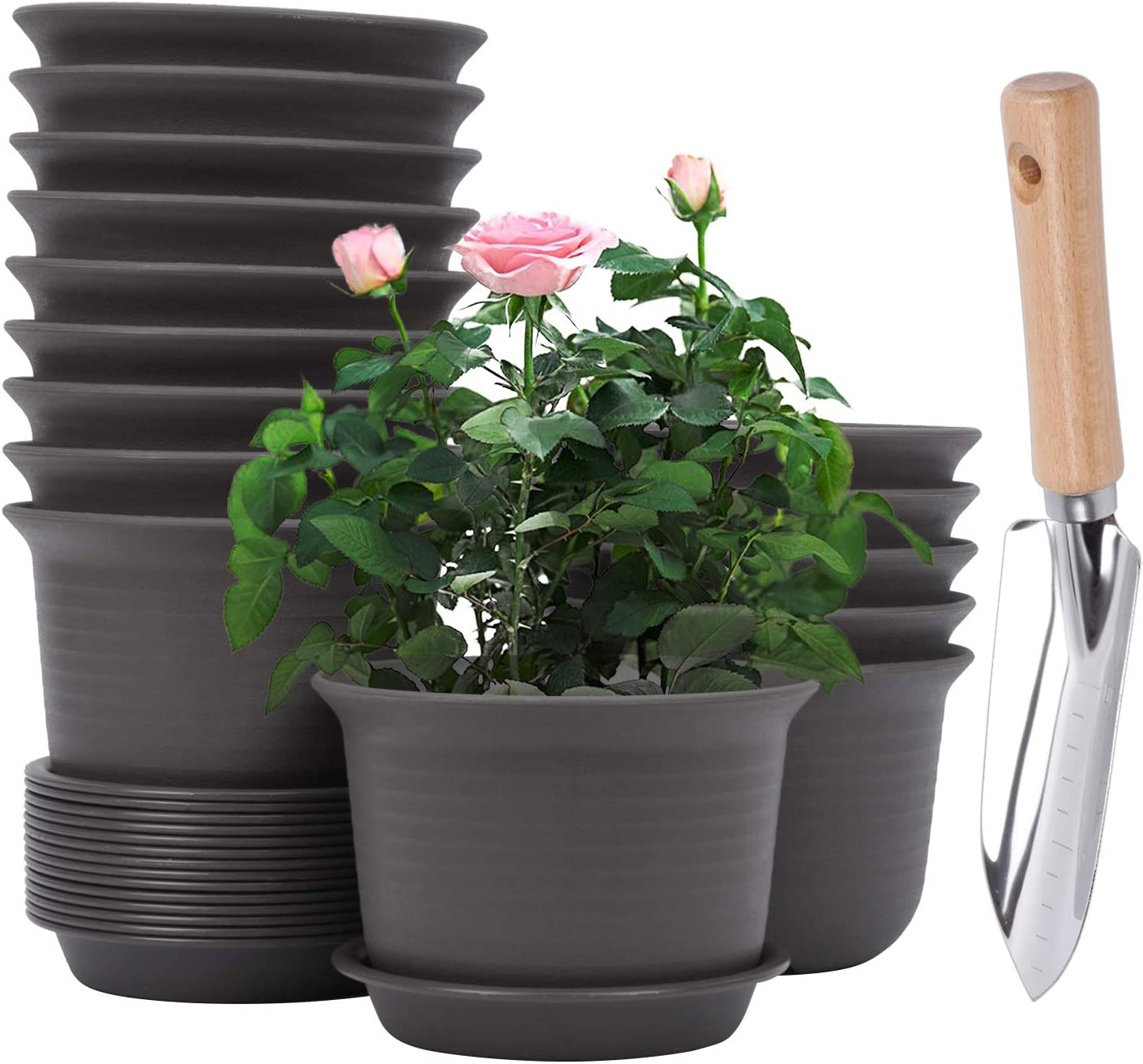 6 Inch Plant Pot with Drainage Hole and Tray, Set of 16, 15PCS Flower Pots and 1 PC Multi Use Garden Trowel, Indoor Outdoor Plastic Planters, Herbs Seedling Succulents Pot (Brown)